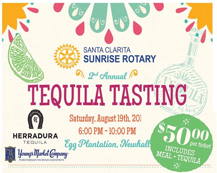 Santa Clarita Sunrise Rotary Club Tequila Tasting Fundraiser August 19th – Tickets on Sale